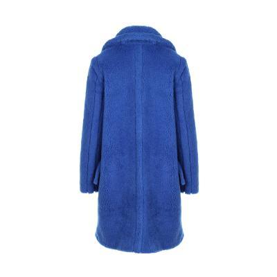 unbalance pocket detail fur coat blue